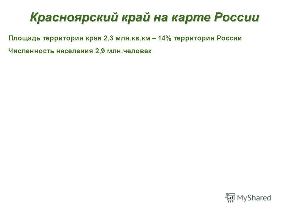 Красноярский край на карте России Площадь территории края 2,3 млн.кв.км – 14% территории России Численность населения 2,9 млн.человек