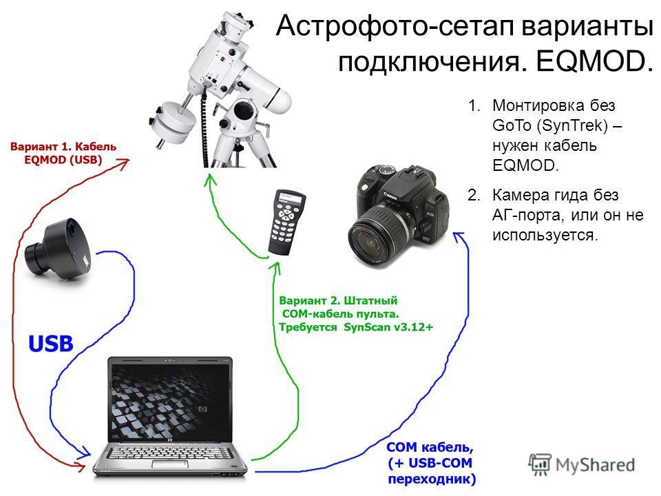 Астрофото-сетап варианты подключения. EQMOD. 1.Монтировка без GoTo (SynTrek) – нужен кабель EQMOD. 2.Камера гида без АГ-порта, или он не используется.