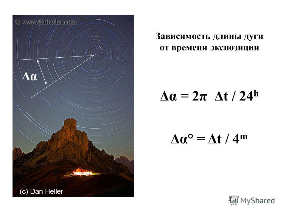 Δα Зависимость длины дуги от времени экспозиции Δα = 2π Δt / 24 h Δα° = Δt / 4 m (c) Dan Heller
