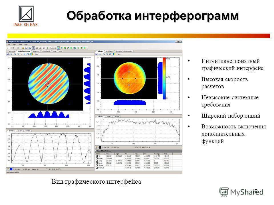 19 Обработка интерферограмм Интуитивно понятный графический интерфейс Высокая скорость расчетов Невысокие системные требования Широкий набор опций Возможность включения дополнительных функций Вид графического интерфейса IA&E SB RAS