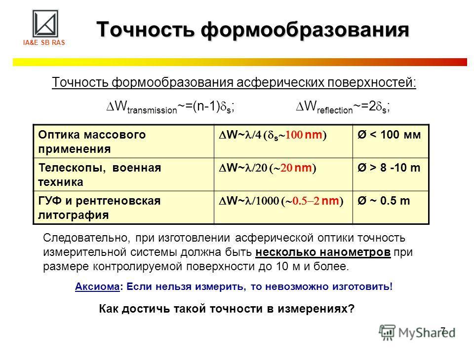7 Точность формообразования Точность формообразования асферических поверхностей: W transmission ~=(n-1) s ; W reflection ~=2 s ; IA&E SB RAS Следовательно, при изготовлении асферической оптики точность измерительной системы должна быть несколько нано