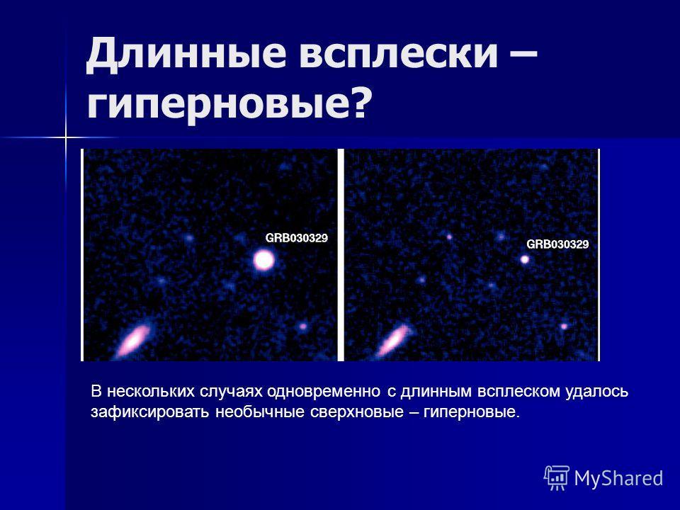 Длинные всплески – гиперновые? В нескольких случаях одновременно с длинным всплеском удалось зафиксировать необычные сверхновые – гиперновые.