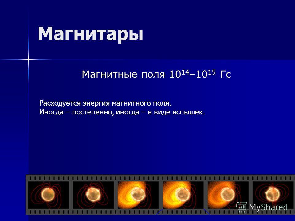 Магнитары Магнитные поля 10 14 –10 15 Гс Расходуется энергия магнитного поля. Иногда – постепенно, иногда – в виде вспышек.