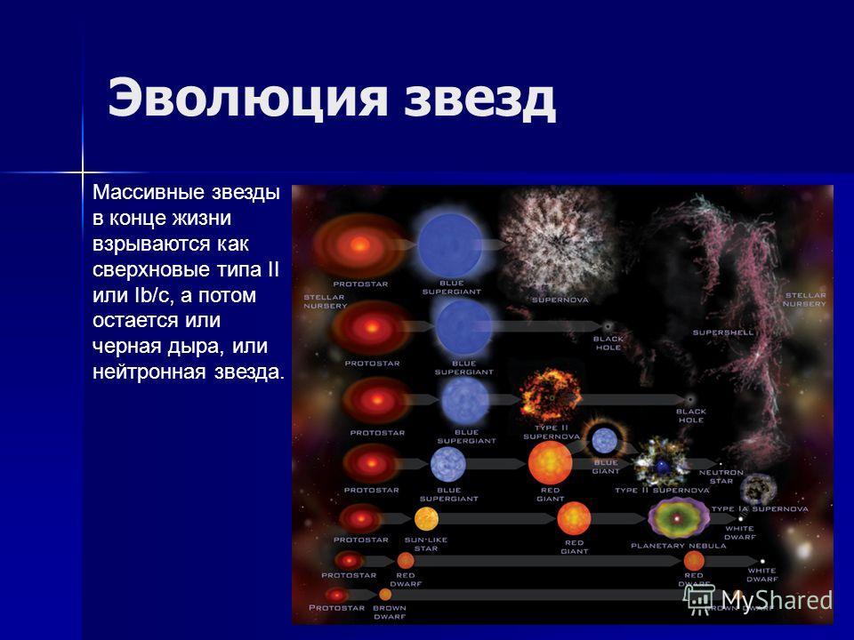 Эволюция звезд Массивные звезды в конце жизни взрываются как сверхновые типа II или Ib/c, а потом остается или черная дыра, или нейтронная звезда.