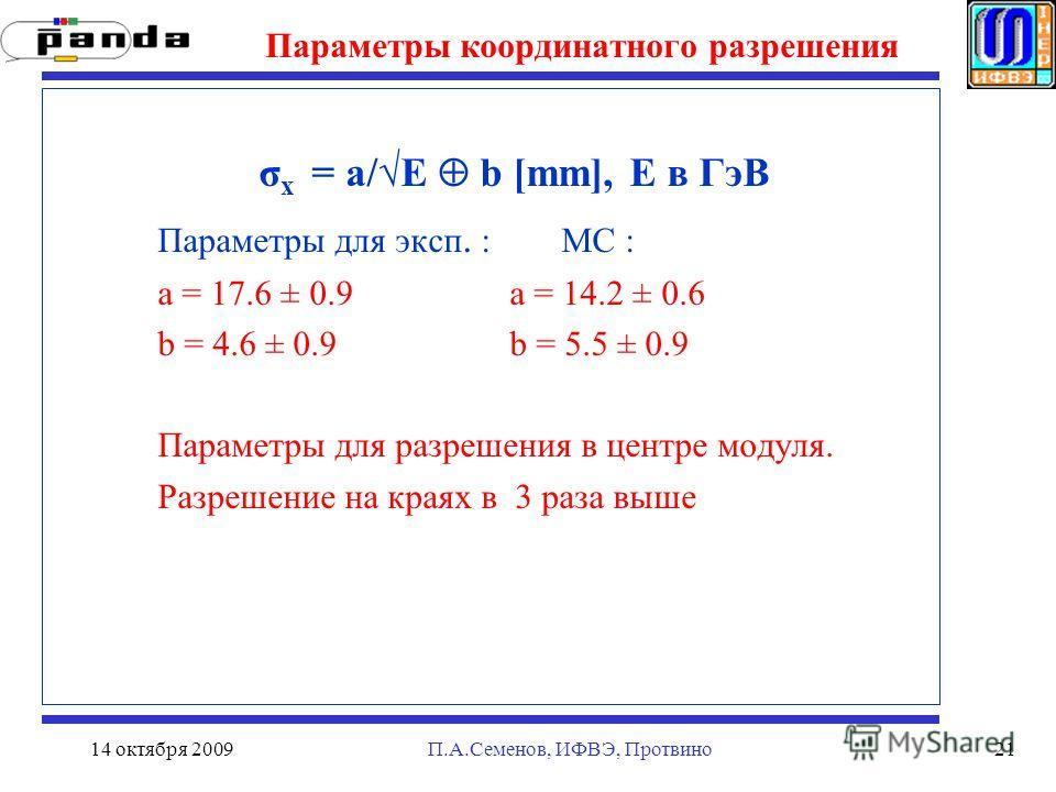 14 октября 2009П.А.Семенов, ИФВЭ, Протвино21 Параметры координатного разрешения σ x = a/E b [mm], E в ГэВ Параметры для эксп. : MC : a = 17.6 ± 0.9 a = 14.2 ± 0.6 b = 4.6 ± 0.9 b = 5.5 ± 0.9 Параметры для разрешения в центре модуля. Разрешение на кра