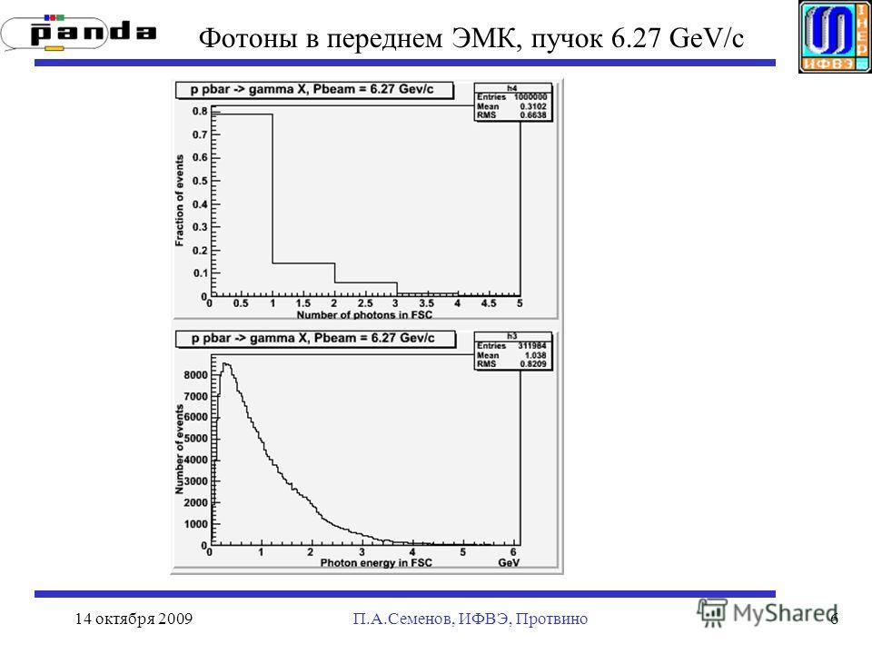 14 октября 2009П.А.Семенов, ИФВЭ, Протвино6 Фотоны в переднем ЭМК, пучок 6.27 GeV/c