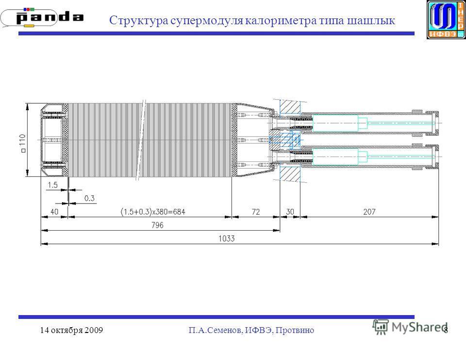 14 октября 2009П.А.Семенов, ИФВЭ, Протвино8 Структура супермодуля калориметра типа шашлык