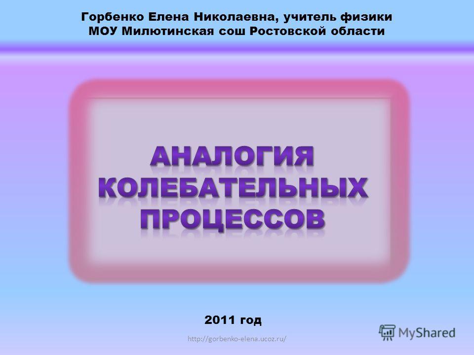 Горбенко Елена Николаевна, учитель физики МОУ Милютинская сош Ростовской области 2011 год http://gorbenko-elena.ucoz.ru/