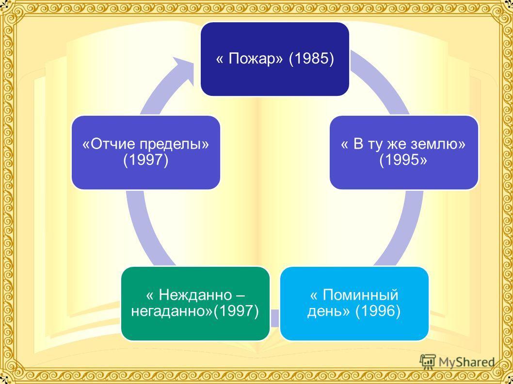 « Пожар» (1985) « В ту же землю» (1995» « Поминный день» (1996) « Нежданно – негаданно»(1997) «Отчие пределы» (1997)