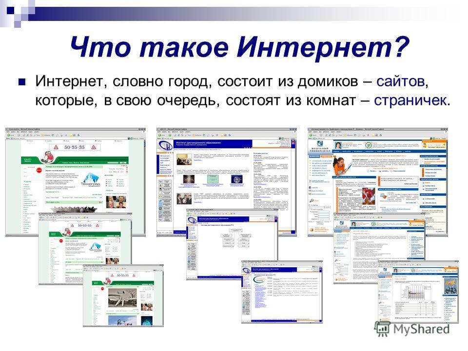 Что такое Интернет? Интернет, словно город, состоит из домиков – сайтов, которые, в свою очередь, состоят из комнат – страничек.