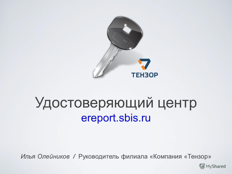 Удостоверяющий центр ereport.sbis.ru Илья Олейников / Руководитель филиала «Компания «Тензор»