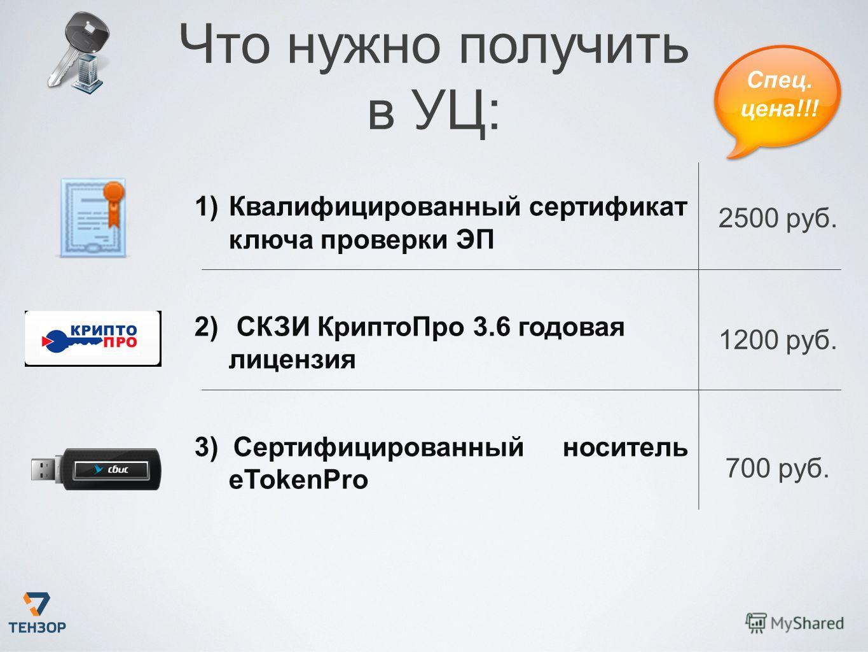 1)Квалифицированный сертификат ключа проверки ЭП 2) СКЗИ КриптоПро 3.6 годовая лицензия 3) Сертифицированный носитель eTokenPro 2500 руб. 1200 руб. 700 руб. Спец. цена!!! Что нужно получить в УЦ: