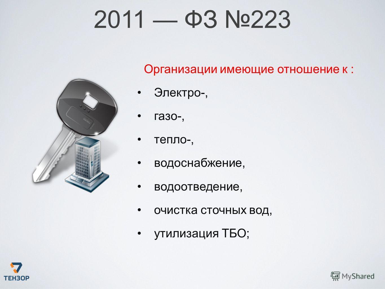 2011 ФЗ 223 Организации имеющие отношение к : Электро-, газо-, тепло-, водоснабжение, водоотведение, очистка сточных вод, утилизация ТБО;