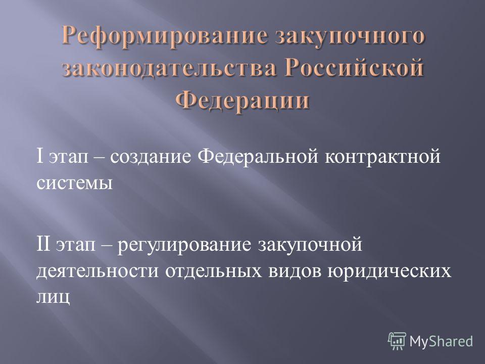 I этап – создание Федеральной контрактной системы II этап – регулирование закупочной деятельности отдельных видов юридических лиц