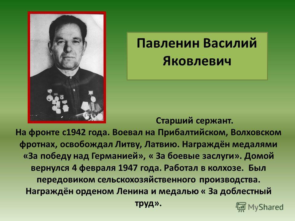 Старший сержант. На фронте с1942 года. Воевал на Прибалтийском, Волховском фротнах, освобождал Литву, Латвию. Награждён медалями «За победу над Германией», « За боевые заслуги». Домой вернулся 4 февраля 1947 года. Работал в колхозе. Был передовиком с