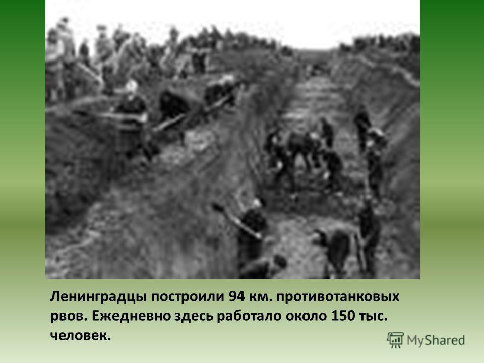 Ленинградцы построили 94 км. противотанковых рвов. Ежедневно здесь работало около 150 тыс. человек.