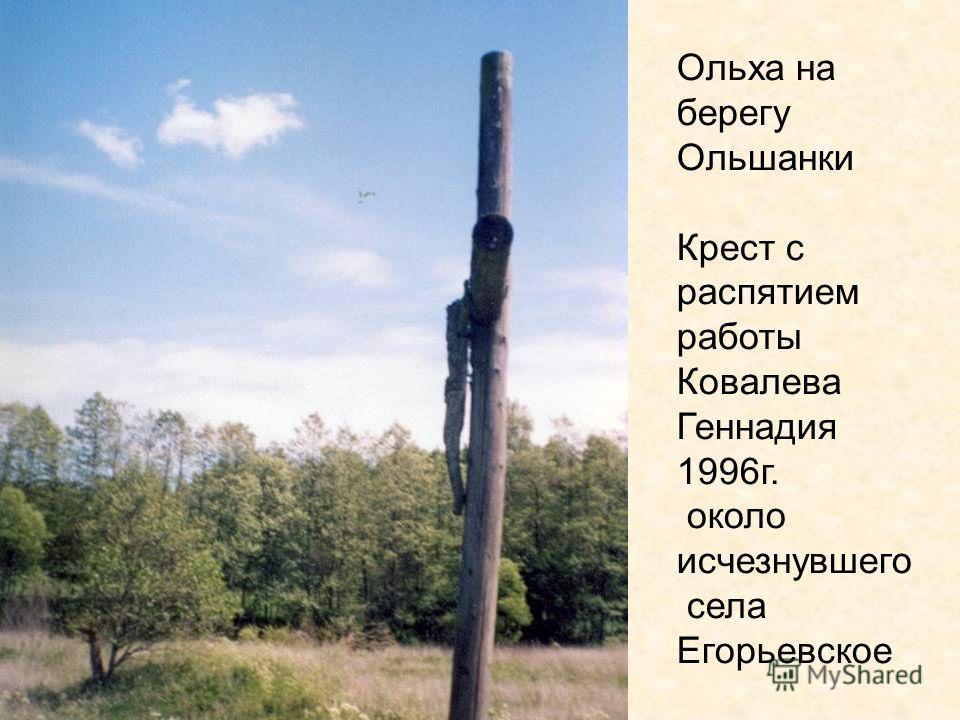 Ольха на берегу Ольшанки Крест с распятием работы Ковалева Геннадия 1996г. около исчезнувшего села Егорьевское