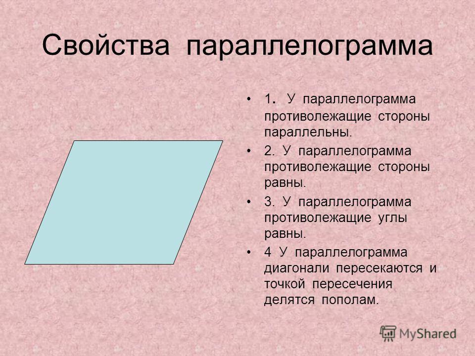 Свойства параллелограмма 1. У параллелограмма противолежащие стороны параллельны. 2. У параллелограмма противолежащие стороны равны. 3. У параллелограмма противолежащие углы равны. 4 У параллелограмма диагонали пересекаются и точкой пересечения делят