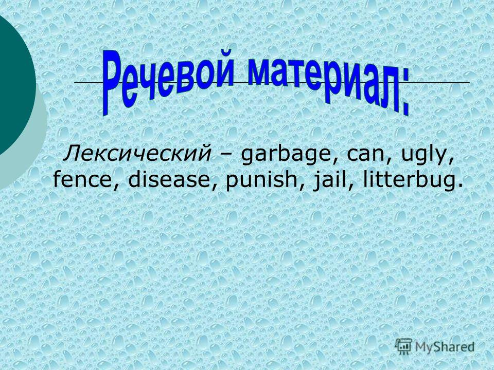 Лексический – garbage, can, ugly, fence, disease, punish, jail, litterbug.