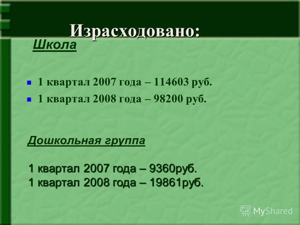 Израсходовано: 1 квартал 2007 года – 114603 руб. 1 квартал 2008 года – 98200 руб. Школа Дошкольная группа 1 квартал 2007 года – 9360руб. 1 квартал 2008 года – 19861руб.