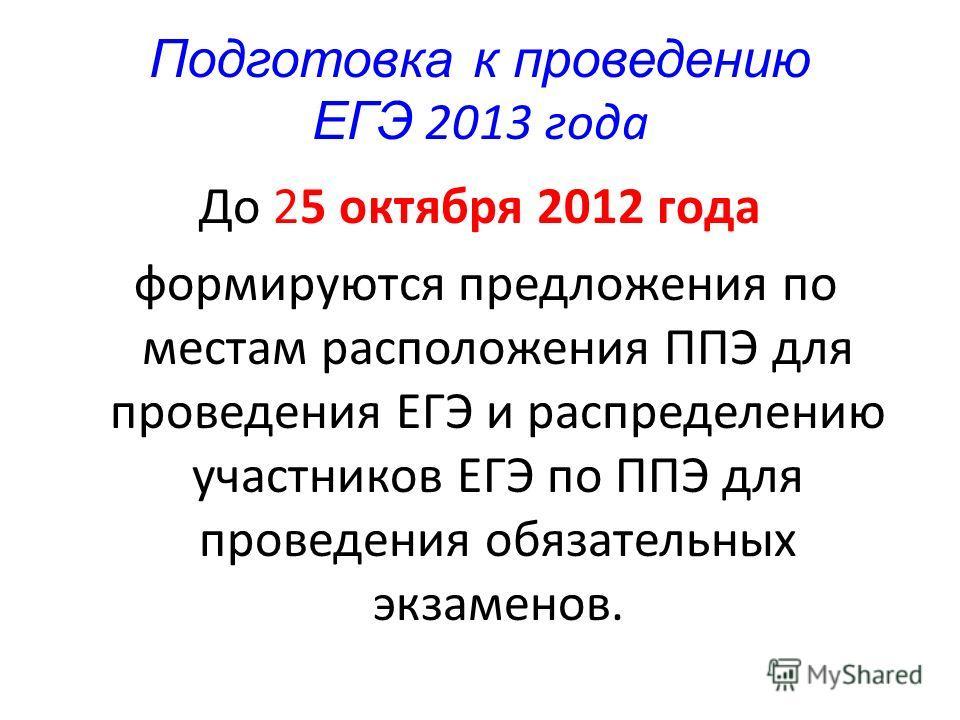 Подготовка к проведению ЕГЭ 2013 года До 25 октября 2012 года формируются предложения по местам расположения ППЭ для проведения ЕГЭ и распределению участников ЕГЭ по ППЭ для проведения обязательных экзаменов.