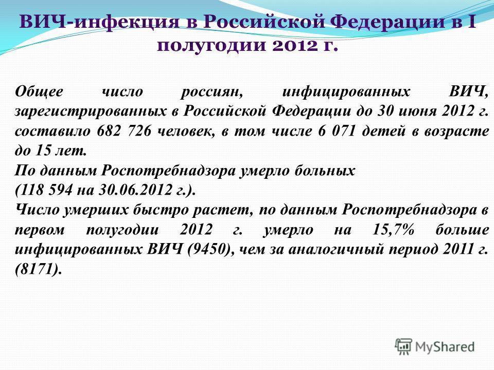 Общее число россиян, инфицированных ВИЧ, зарегистрированных в Российской Федерации до 30 июня 2012 г. составило 682 726 человек, в том числе 6 071 детей в возрасте до 15 лет. По данным Роспотребнадзора умерло больных (118 594 на 30.06.2012 г.). Число