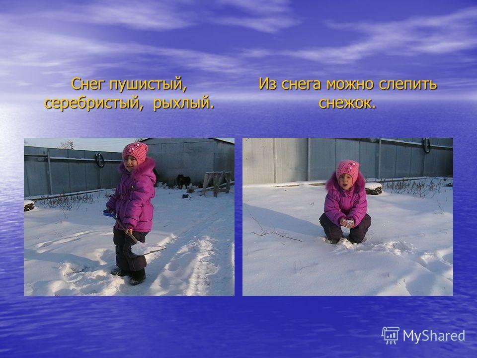 Снег пушистый, серебристый, рыхлый. Из снега можно слепить снежок.