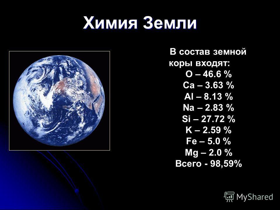 Химия Земли В состав земной коры входят: O – 46.6 % Ca – 3.63 % Al – 8.13 % Na – 2.83 % Si – 27.72 % K – 2.59 % Fe – 5.0 % Mg – 2.0 % Всего - 98,59%