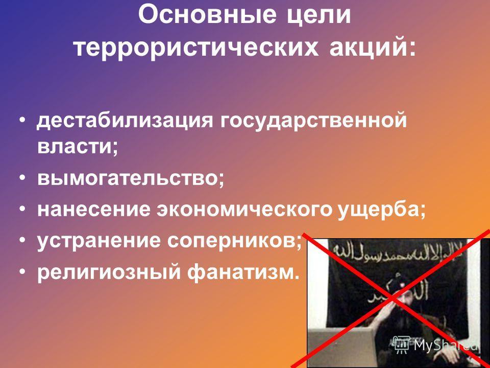 Основные цели террористических акций: дестабилизация государственной власти; вымогательство; нанесение экономического ущерба; устранение соперников; религиозный фанатизм.