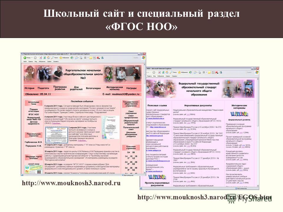 http://www.mouknosh3.narod.ru http://www.mouknosh3.narod.ru/FGOS.htm Школьный сайт и специальный раздел «ФГОС НОО»