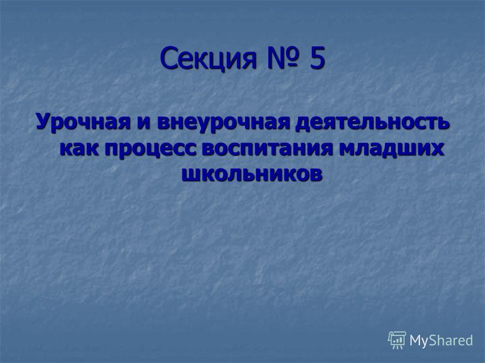 Секция 5 Урочная и внеурочная деятельность как процесс воспитания младших школьников