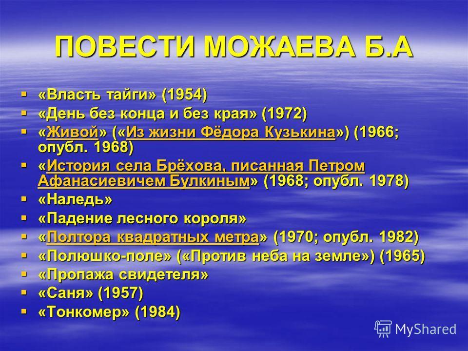 ПОВЕСТИ МОЖАЕВА Б.А «Власть тайги» (1954) «Власть тайги» (1954) «День без конца и без края» (1972) «День без конца и без края» (1972) «Живой» («Из жизни Фёдора Кузькина») (1966; опубл. 1968) «Живой» («Из жизни Фёдора Кузькина») (1966; опубл. 1968)Жив