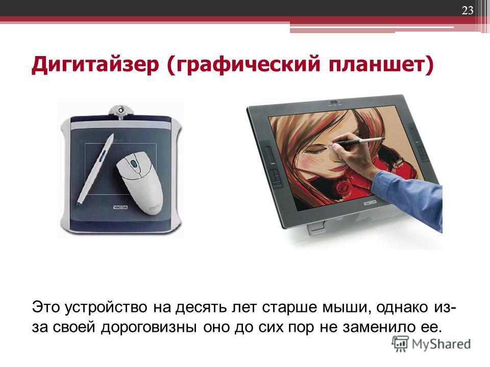 23 Дигитайзер (графический планшет) Это устройство на десять лет старше мыши, однако из- за своей дороговизны оно до сих пор не заменило ее.