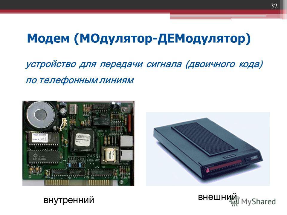 32 Модем (МОдулятор-ДЕМодулятор) устройство для передачи сигнала (двоичного кода) по телефонным линиям внешний внутренний