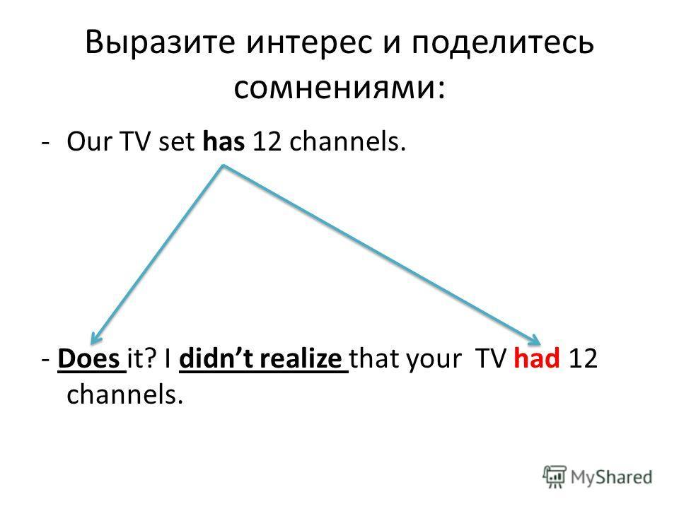 Выразите интерес и поделитесь сомнениями: -Our TV set has 12 channels. - Does it? I didnt realize that your TV had 12 channels.