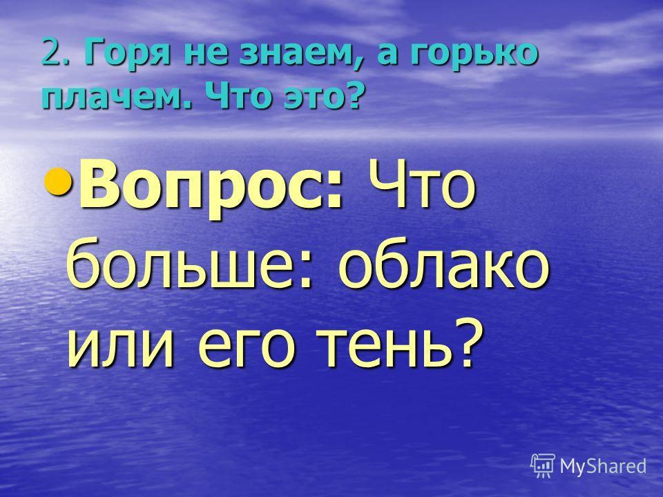 2. Горя не знаем, а горько плачем. Что это? Вопрос: Что больше: облако или его тень? Вопрос: Что больше: облако или его тень?
