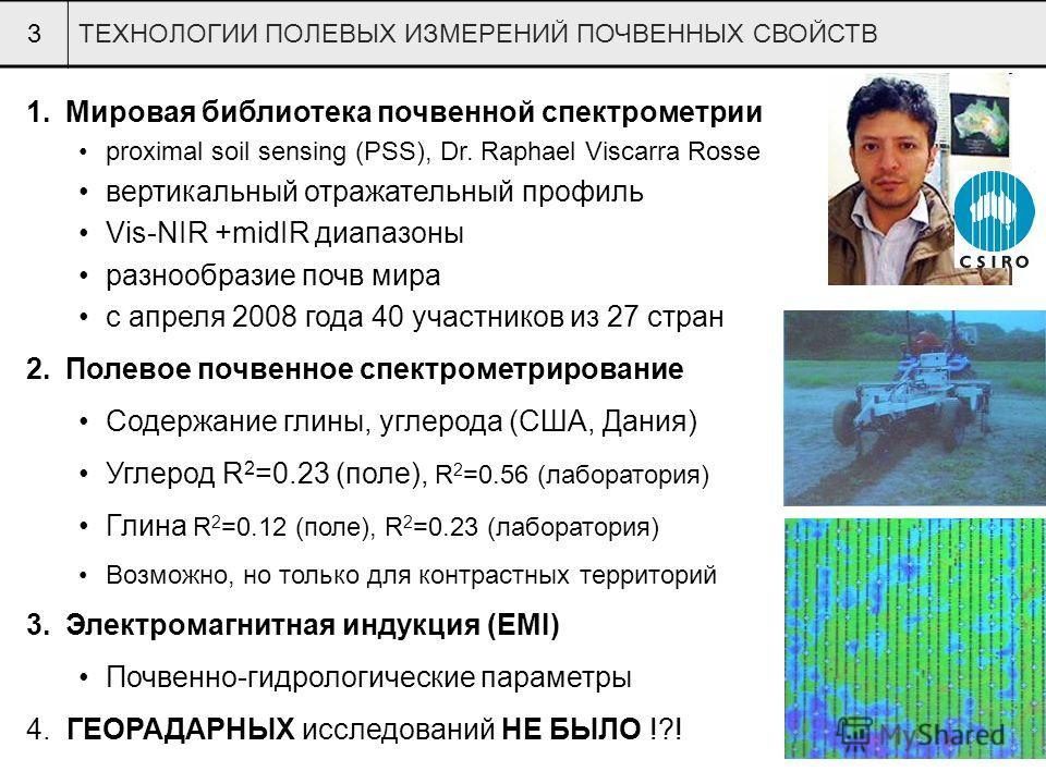 3ТЕХНОЛОГИИ ПОЛЕВЫХ ИЗМЕРЕНИЙ ПОЧВЕННЫХ СВОЙСТВ 1.Мировая библиотека почвенной спектрометрии proximal soil sensing (PSS), Dr. Raphael Viscarra Rosse вертикальный отражательный профиль Vis-NIR +midIR диапазоны разнообразие почв мира с апреля 2008 года