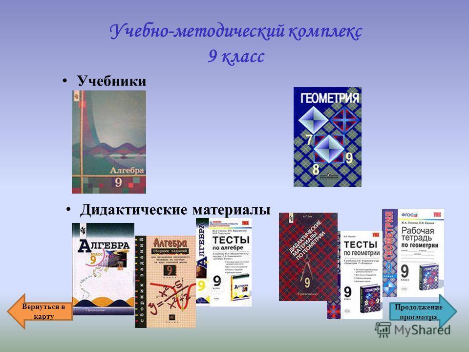 Учебно-методический комплекс 9 класс Учебники Дидактические материалы Вернуться в карту Продолжение просмотра