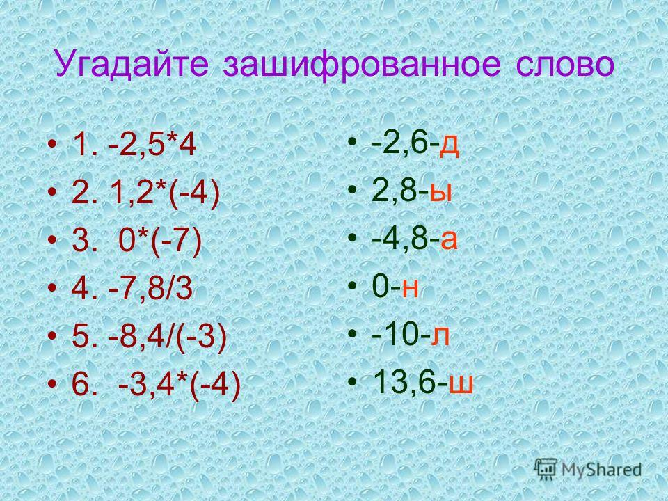 Угадайте зашифрованное слово 1. -2,5*4 2. 1,2*(-4) 3. 0*(-7) 4. -7,8/3 5. -8,4/(-3) 6. -3,4*(-4) -2,6-д 2,8-ы -4,8-а 0-н -10-л 13,6-ш