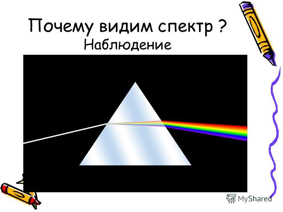 Почему видим спектр ? Наблюдение