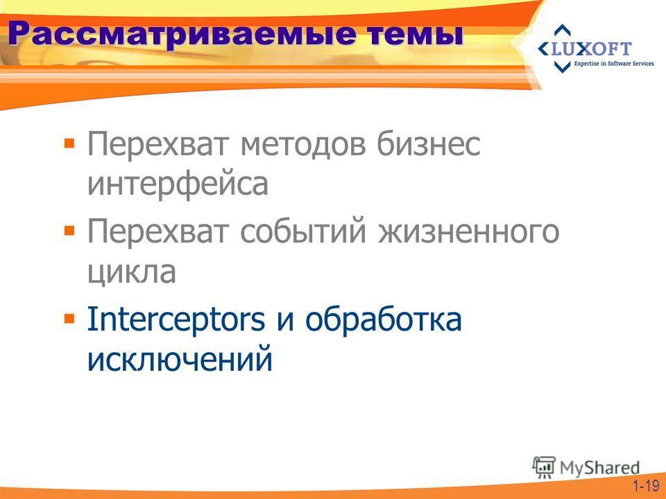 Рассматриваемые темы Перехват методов бизнес интерфейса Перехват событий жизненного цикла Interceptors и обработка исключений 1-19