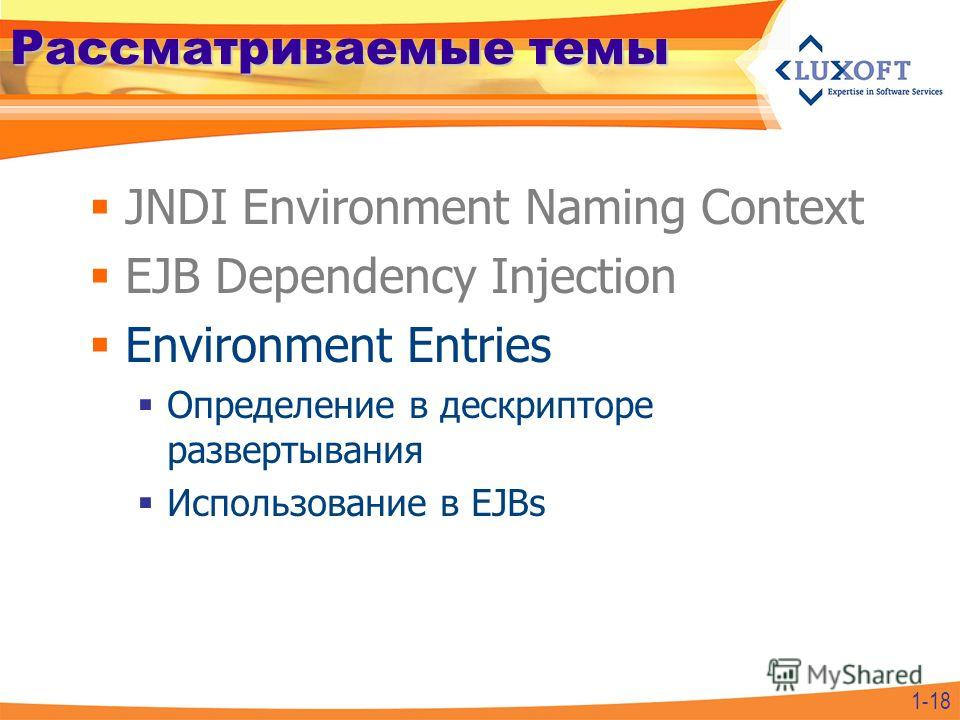 Рассматриваемые темы JNDI Environment Naming Context EJB Dependency Injection Environment Entries Определение в дескрипторе развертывания Использование в EJBs 1-18
