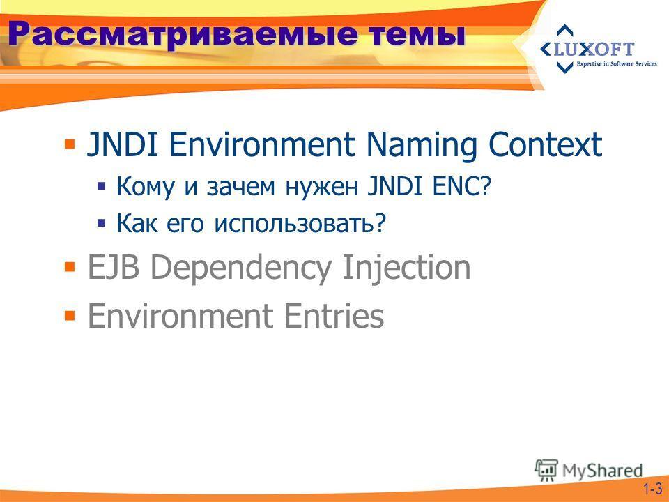 Рассматриваемые темы JNDI Environment Naming Context Кому и зачем нужен JNDI ENC? Как его использовать? EJB Dependency Injection Environment Entries 1-3