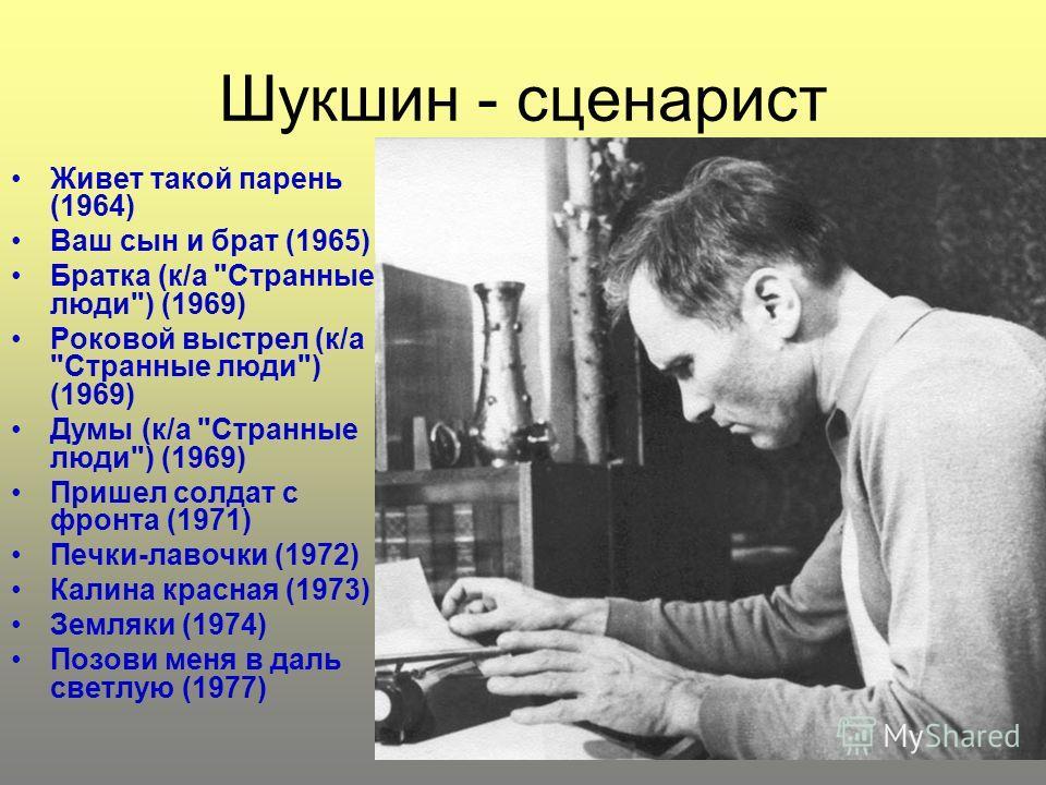 Шукшин - сценарист Живет такой парень (1964) Ваш сын и брат (1965) Братка (к/а