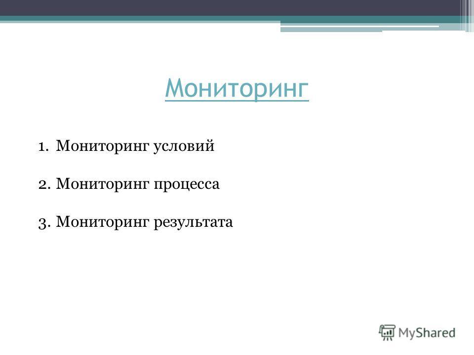 Мониторинг 1.Мониторинг условий 2.Мониторинг процесса 3.Мониторинг результата