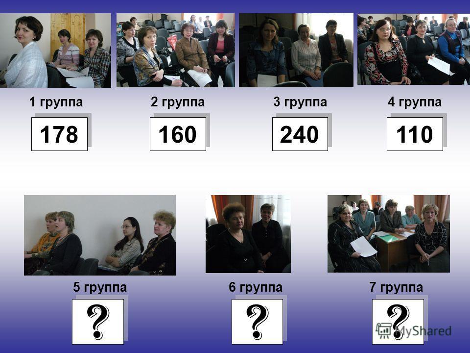 1 группа4 группа3 группа2 группа 5 группа6 группа7 группа 178 160 240 110