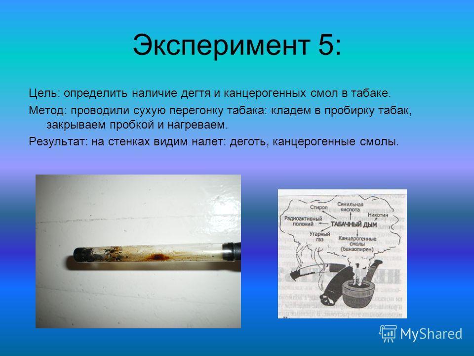 Эксперимент 5: Цель: определить наличие дегтя и канцерогенных смол в табаке. Метод: проводили сухую перегонку табака: кладем в пробирку табак, закрываем пробкой и нагреваем. Результат: на стенках видим налет: деготь, канцерогенные смолы.