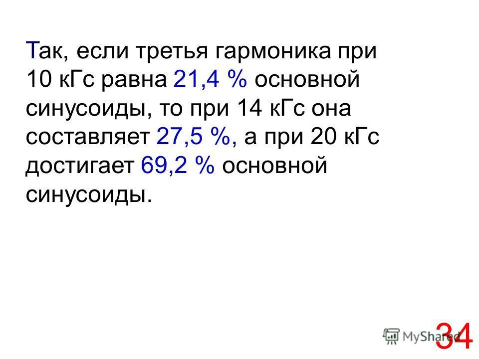 34 Так, если третья гармоника при 10 кГс равна 21,4 % основной синусоиды, то при 14 кГс она составляет 27,5 %, а при 20 кГс достигает 69,2 % основной синусоиды.