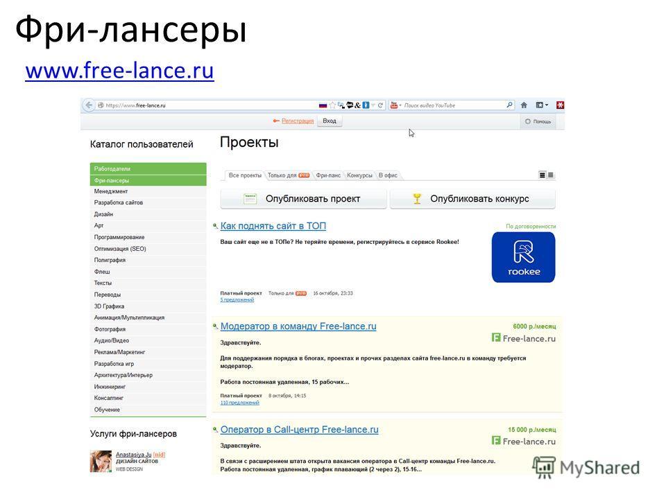 Фри-лансеры www.free-lance.ru