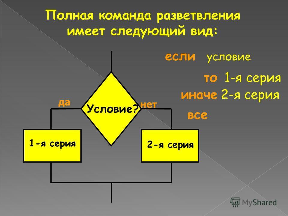 Полная команда разветвления имеет следующий вид: то 1-я серия если условие иначе 2-я серия все Условие? да нет 1-я серия 2-я серия